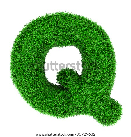 Letter Q, made of grass isolated on white background. - stock photo
