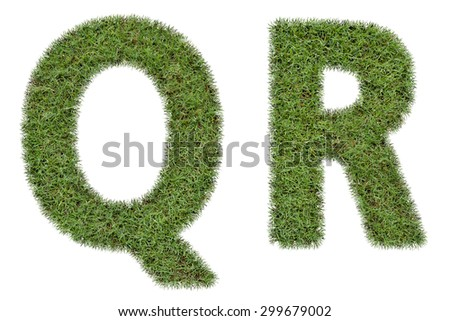 Letter Q,R of  green grass isolated on white