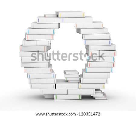 Letter Q, stacked from many blank title books in column - stock photo