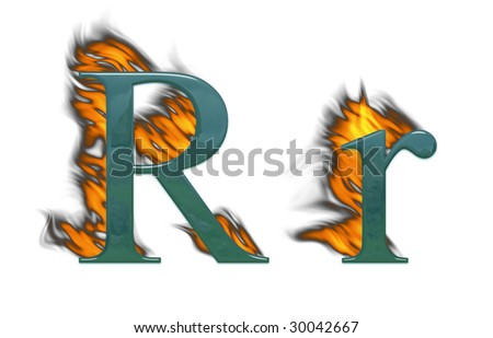 Letter R burning, green glass with class - stock photo