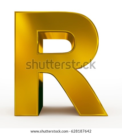 Letter r 3d golden isolated on stock illustration 628187642 letter r 3d golden isolated on white 3d rendering thecheapjerseys Images