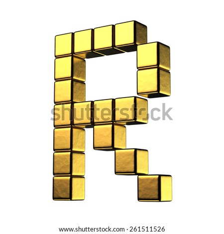 Letter R from big cube gold perspective alphabet. There is a clipping path - stock photo