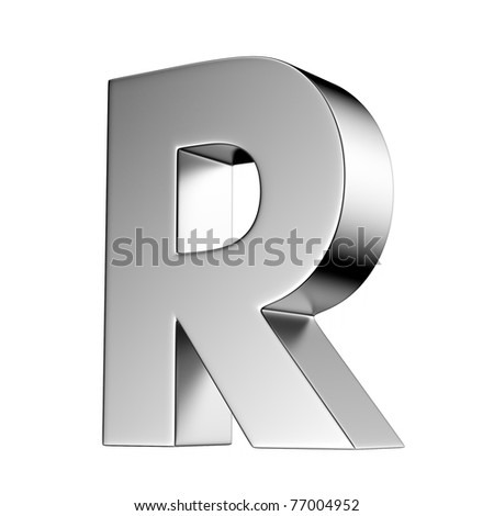 Letter R from chrome solid alphabet. There is a clipping path - stock photo