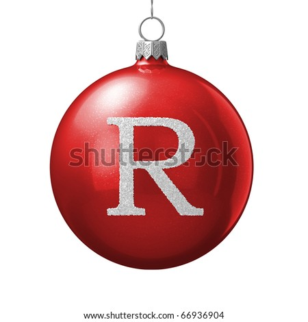 Letter R from cristmas ball alphabet. There is a clipping path - stock photo