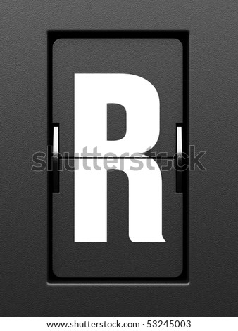 Letter R from mechanical scoreboard alphabet - stock photo