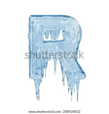 Letter R. Ice font isolated on white background. Alphabet. - stock photo