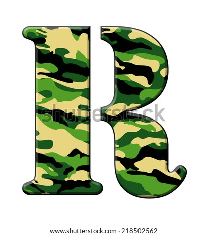 Letter R In A Stencil Style Font Filled Woodland Camouflage Pattern