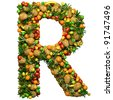 Letter -  R made from 3d fruits. Isolated on a white. - stock photo