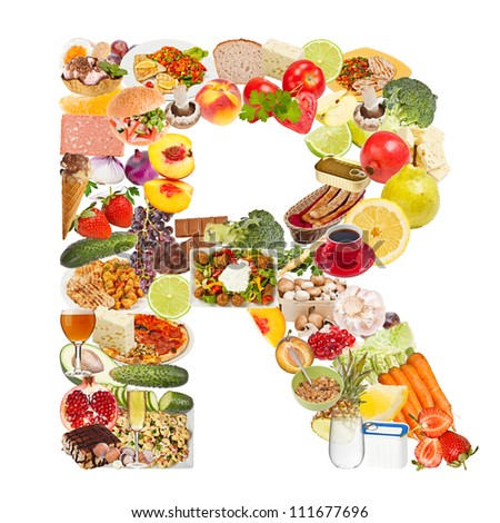Letter R made of food isolated on white background - stock photo