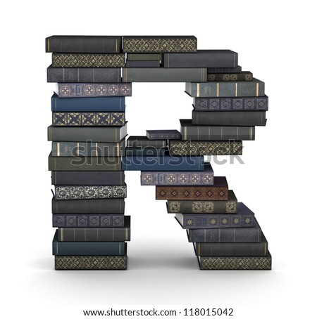 Letter R, stacked from many  books in pile - stock photo