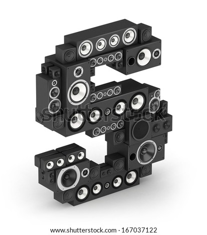 Letter S from black hi-fi speakers sound systems  in isometry - stock photo