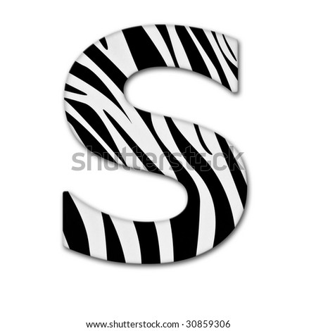 Letter S from the alphabet. Made of animal print. It has a clipping path. - stock photo