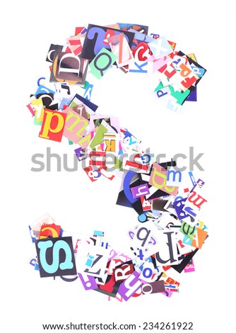 Letter S made of colorful newspaper letters isolated on white - stock photo