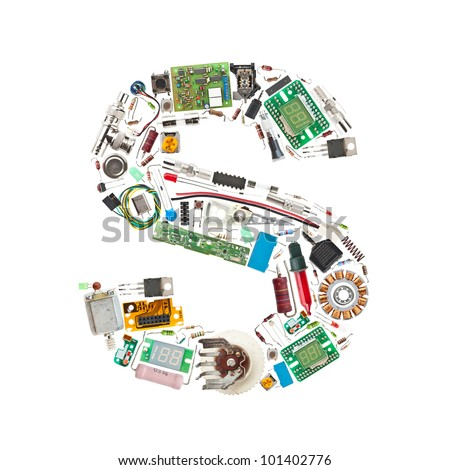 Letter 'S' made of electronic components isolated in white background - stock photo
