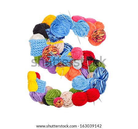 Letter S made of knitting yarn isolated on white background - stock photo
