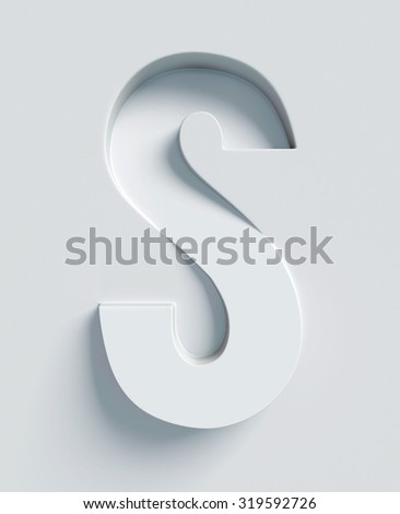 Letter S slanted 3d font engraved and extruded from the surface - stock photo