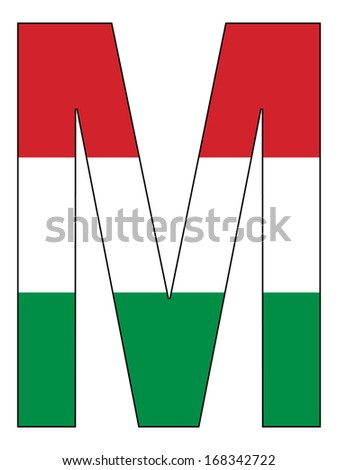 Letter series with flag inside - Hungary