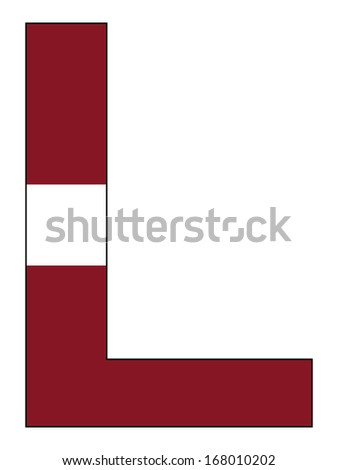 Letter series with flag inside - Latvia