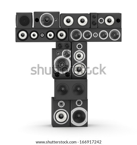 Letter T from black hi-fi speakers sound systems - stock photo