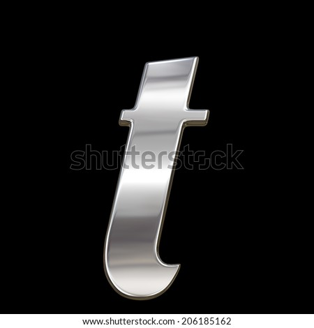 Letter t from chrome solid alphabet isolated on black, lowercase.  - stock photo