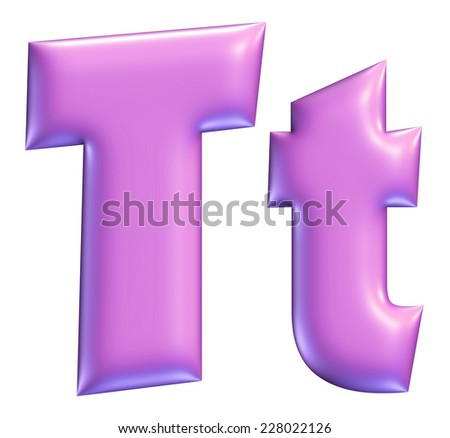 Letter T from Violet solid alphabet on isolated white - stock photo