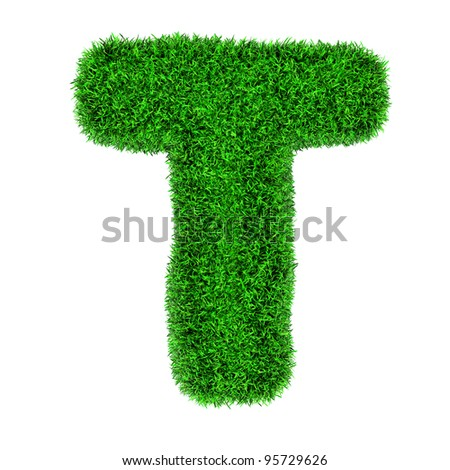 Letter T, made of grass isolated on white background. - stock photo