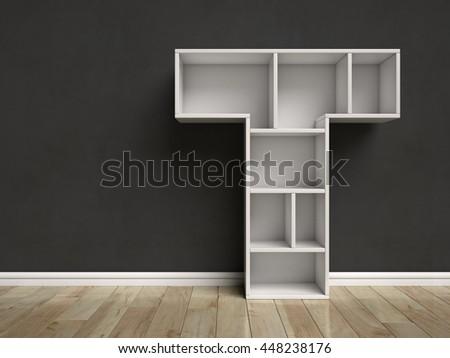 Letter T shaped shelves 3d rendering - stock photo