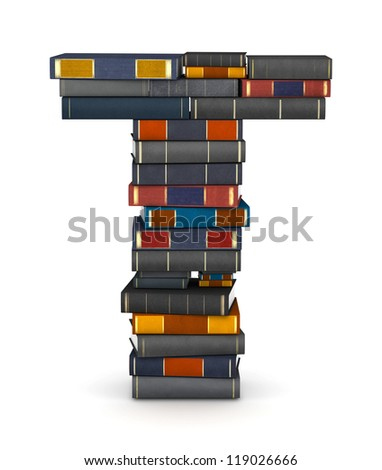 Letter T, stacked from many encyclopedia books in pile - stock photo