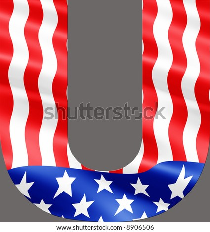Letter U cut from rippling American flag