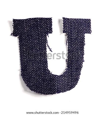 Letter U. Jeans alphabet Isolated on White. Handmade font. - stock photo