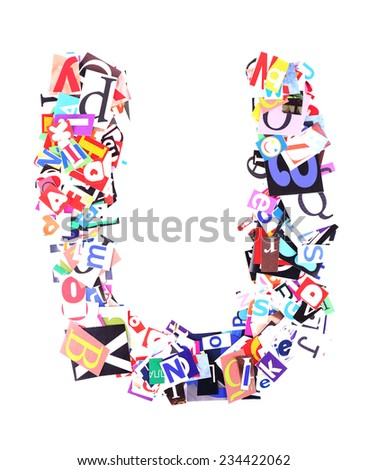 Letter U made of colorful newspaper letters isolated on white - stock photo