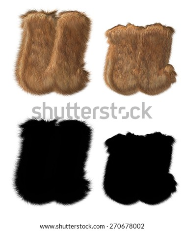 Letter U made out of animal fur, with alpha - stock photo