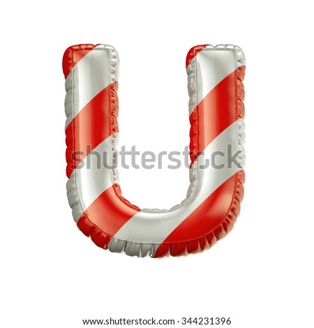 Letter U. Red and white Balloon font isolated on White Background.Birthday alphabet. - stock photo
