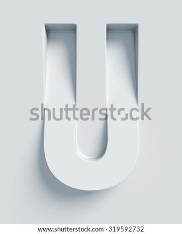 Letter U slanted 3d font engraved and extruded from the surface - stock photo