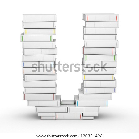 Letter U, stacked from many blank title books in column - stock photo