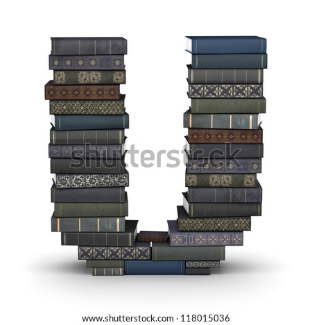 Letter U, stacked from many  books in pile - stock photo
