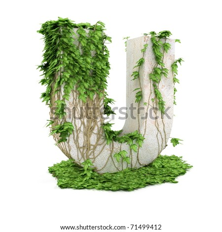 Letter U threads covered with ivy isolated on white background. - stock photo