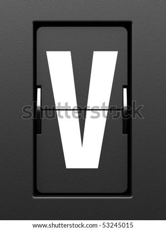 Letter V from mechanical scoreboard alphabet - stock photo