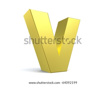 letter V from my golden collection - stock photo