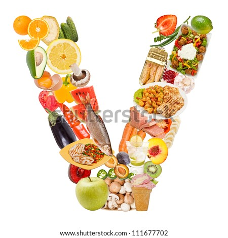 Letter V made of food isolated on white background - stock photo