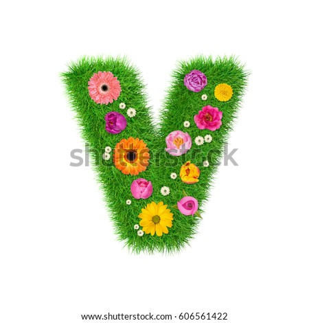 Letter v made of flowers stock images royalty free images letter v made of grass and colorful flowers spring concept for graphic design collage altavistaventures Choice Image