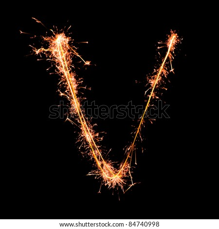Letter V. Real sparkler alphabet - stock photo