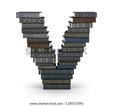 Letter V, stacked from many  books in pile - stock photo