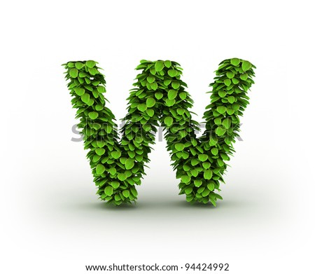 Letter W , alphabet of green leaves isolated on white background
