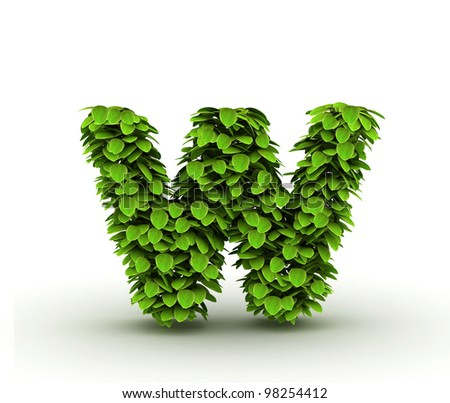 Letter  w, alphabet of green leaves, small caps - stock photo