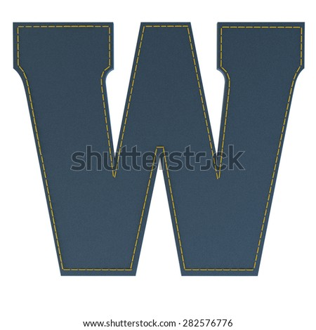 letter w from denim - jeans, on a white background, high specification of fabric, it is stitched by the yellow high-detailed threads - stock photo