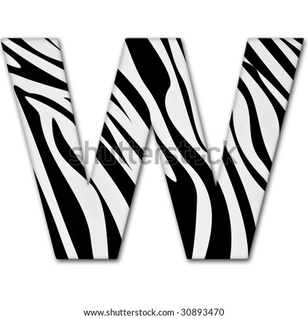 Letter W from the alphabet. Made of animal print. It has a clipping path. - stock photo