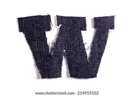 Letter W. Jeans alphabet Isolated on White. Handmade font. - stock photo