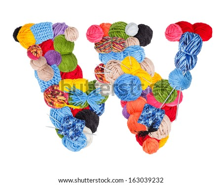Letter W made of knitting yarn isolated on white background - stock photo