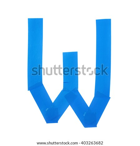 Letter W symbol made of insulating tape pieces, isolated over the white background - stock photo